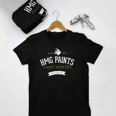 HMG Paints Ltd Paint Makers Manchester T-Shirt. Light weight, soft touch top with white and gold design.