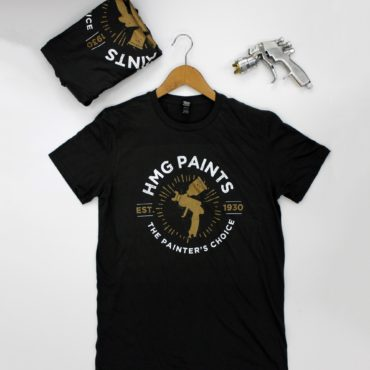 HMG T-Shirt Paint Sprayer T-Shirt. Light weight, soft touch t-shirt with white and gold design.