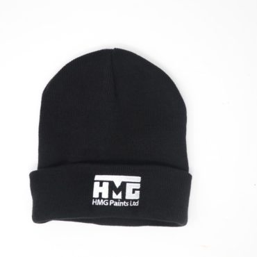 HMG Paints Ltd branded wooly hat merchandise