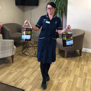 hmg paints ltd hand sanitiser donation to dr kershaws hospice coronavirus pandemic sanitizer