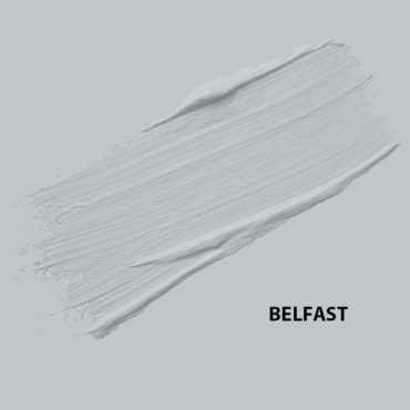 "HMG Paints - Belfast - A light blue with grey undertones, soft in well-lit large interior spaces and strong in smaller spaces.  The roof of our ""Belfast"" Department was built by Belfast ship builders and is one of only a handful left in the UK."
